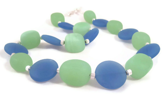 Necklace, Beach Glass, Light Green Nuggets, Light Blue Discs, Sea Glass Necklace, Ocean Colors